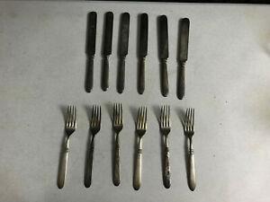 Vintage SILVER PLATE 1847 Rogers Bros Silber Teller 6 Gabeln und 6 Messer 12 teilig