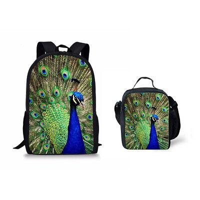 Peacock Feather Shoulder Backpack Messenger Crossbody Laptop Bag Student Bookbags for Kid Girls Boys