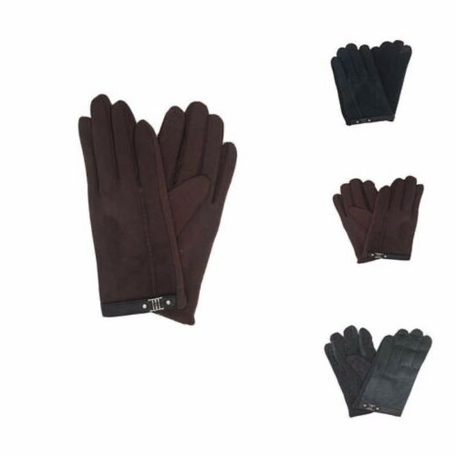 Men /& Women Beautiful Warm Soft Sheepskin Suede Gloves with Metal Design Winter