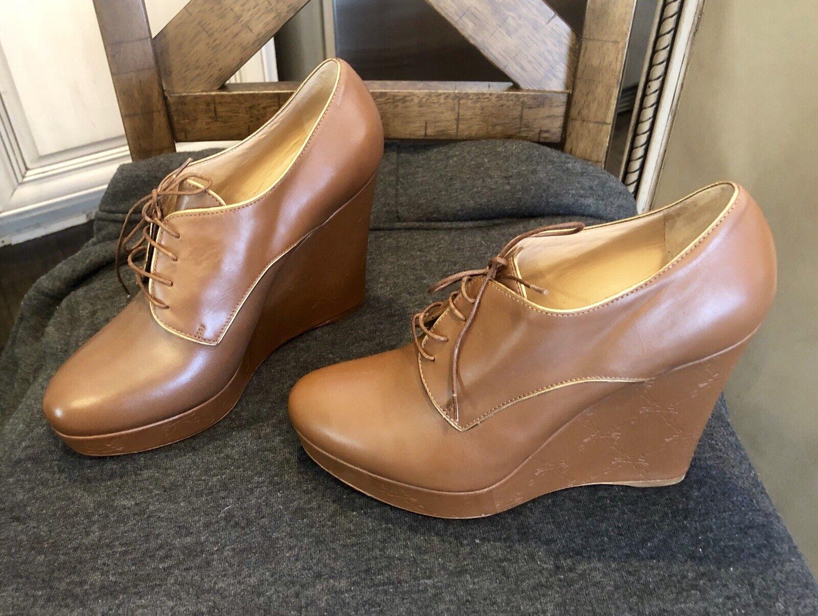 ordinare on-line Long Champ Donna  Cognac Leather Wedge Heels scarpe scarpe scarpe Dimensione 40   FLOOR MODEL  nuovi prodotti novità