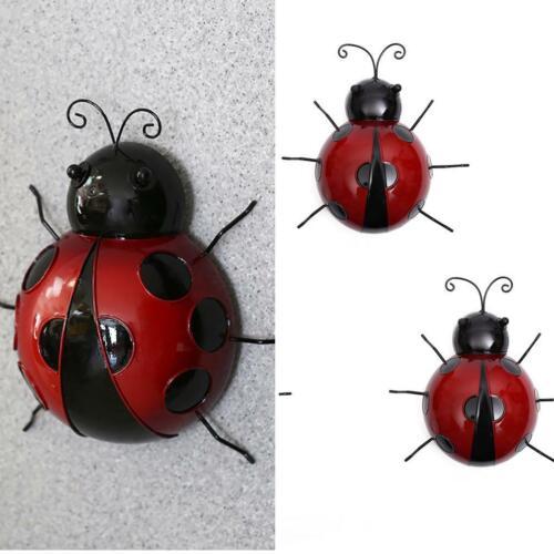 CW/_ New Metal Ladybug Animal Hanging Wall Art Hanger Garden Fence Home Decor Boi