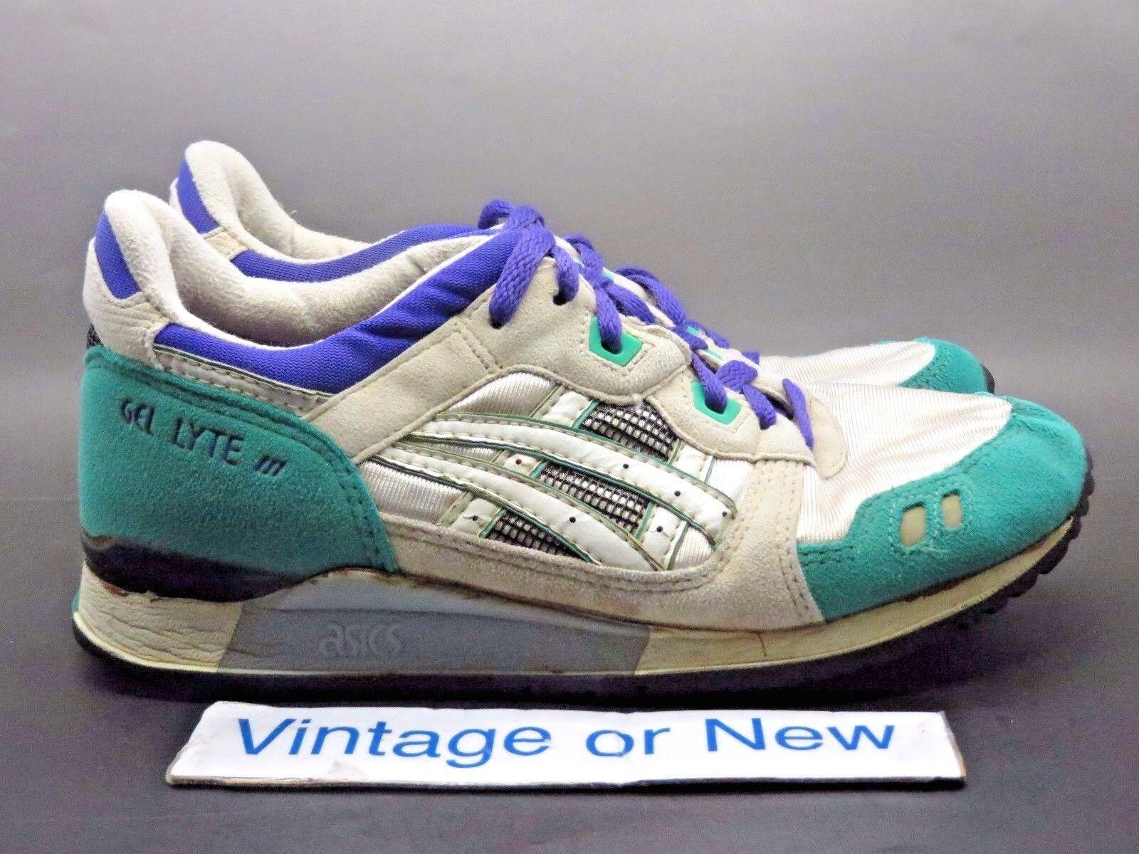 Women's VTG OG 1990 Asics Gel Lyte III 3 White Teal Purple TN68 Running sz 8