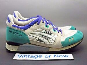 70467ee1c547 Women s VTG OG 1990 Asics Gel Lyte III 3 White Teal Purple TN68 ...