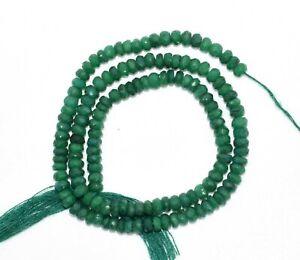 Natural-Corundum-Green-Emerald-Gemstone-4-mm-Rondelle-Faceted-Beads-13-034-Strand