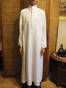 Al Haramain Boy's Black and White Thobe Thoub Long Jubba Islamic/ Muslim Dress