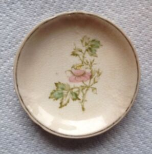 VINTAGE EDWIN M KNOWLES CHINA DISH/SEMI VITREOUS/ROSE WITH GOLD TRIM ...
