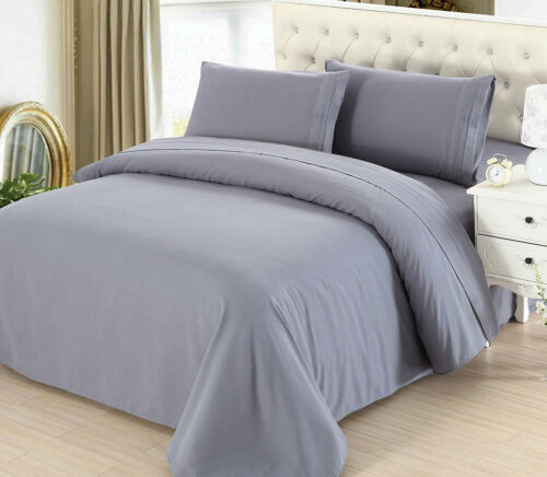California KING size Grey Egyptian Quality flat fitted SHEET SET pillow case