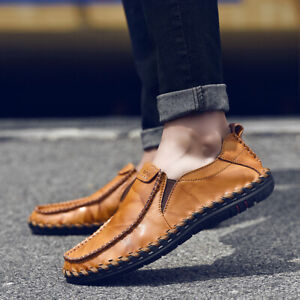 Men-039-s-Cowhide-Leather-Slip-on-Casual-Driving-Loafers-Soft-Moccasin-Boat-Shoes