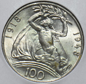 Czechoslovakia-1918-48-100-Korun-naked-man-Lion-animal-295093-combine