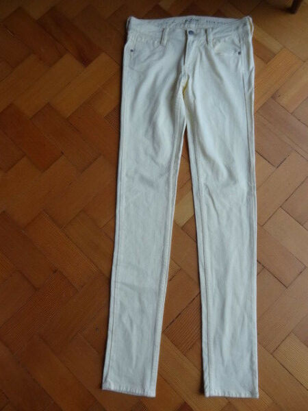 (450dec) Taglia 10l French Connection Chic Cream Skin Tight Pantaloni Denim Jeans