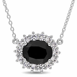 Amour Sterling Silver Black Sapphire and White Topaz Halo Stationed Necklace