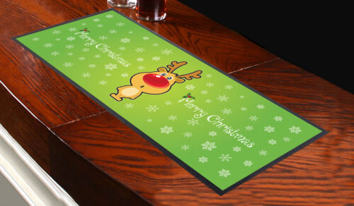 GREEN RUDOLPH CHRISTMAS BAR RUNNER IDEAL FOR HOME COCKTAIL PARTY OCCASION