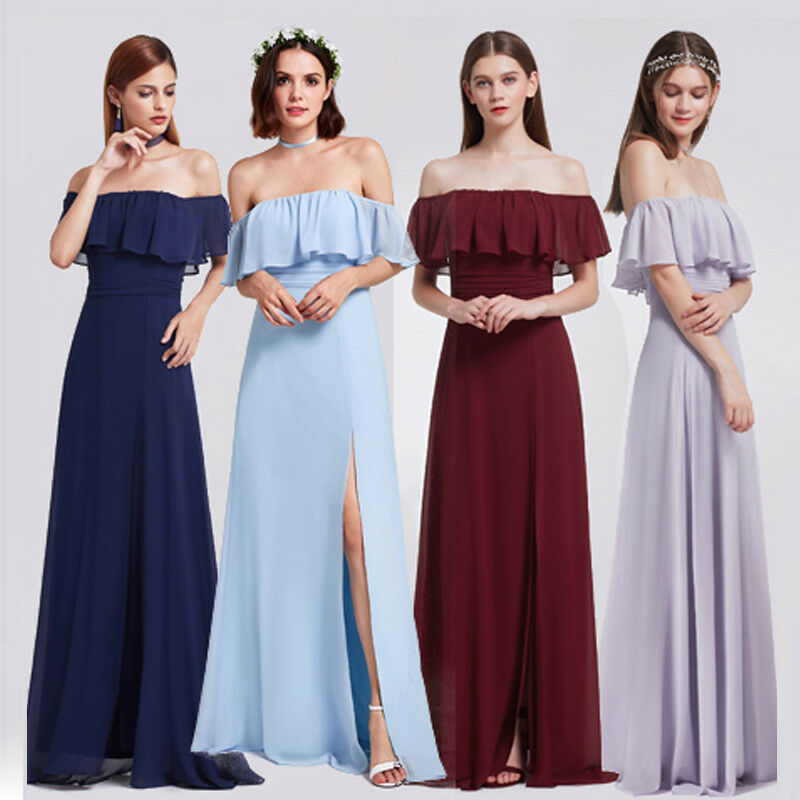 2b72b7384e Ever-Pretty Off-Shoulder Bridesmaid Dress Side Split Dresses 07171 ...