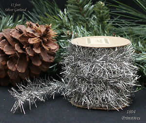 Image Is Loading 12 Ft Silver Tinsel Garland Vintage Style Christmas