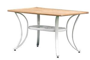 Tisch Weiß Eckig.Details Zu Alu Tisch Weiss Mit Teakholzplatte Eckig 125x80cm