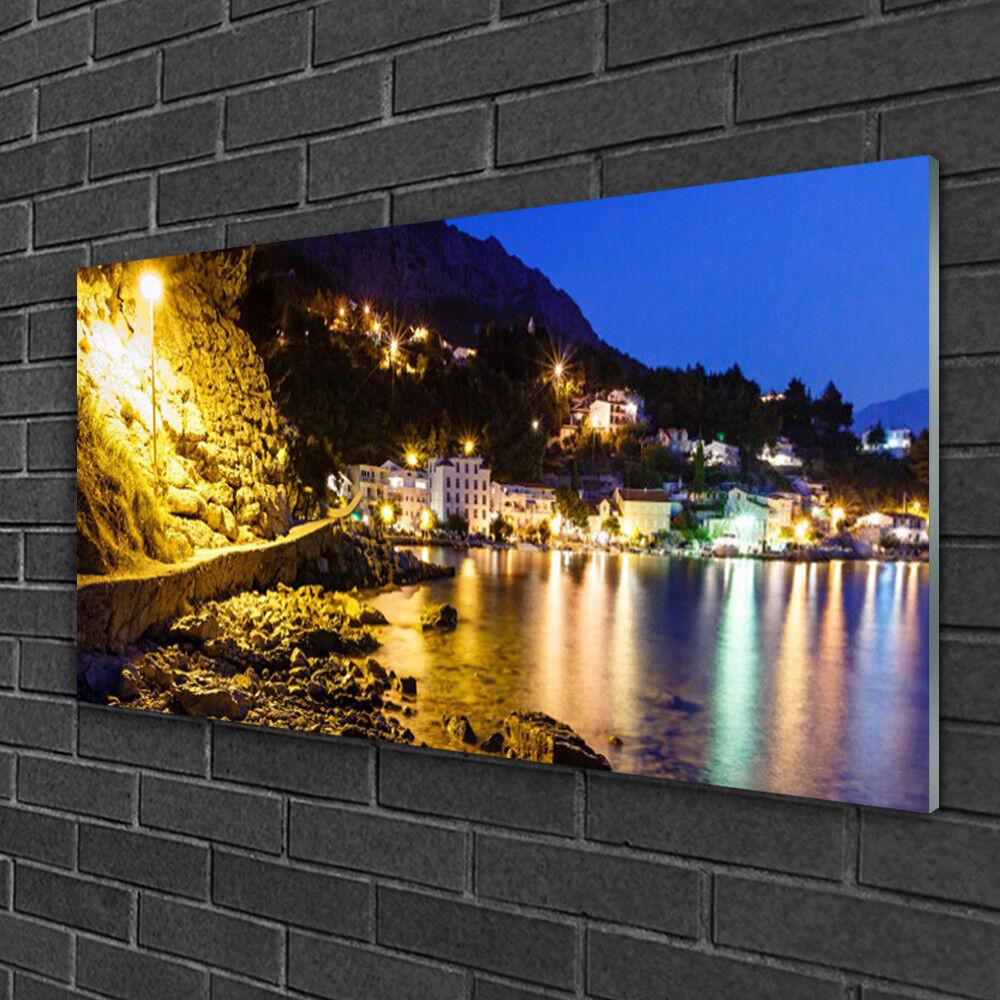 Tableau sur verre Image Impression 100x50 Paysage Montagnes Plage