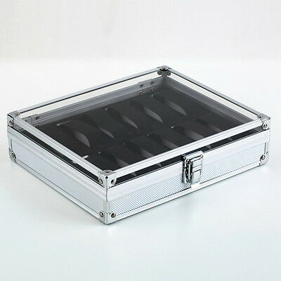 12 Grid Slots Jewelry Watches Display Storage Box Case Aluminium Square NEW @C