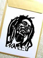 "BOB MARLEY, Original Pop Art, Music Celebrities Sticker 4""X 5"" inches Portrait"
