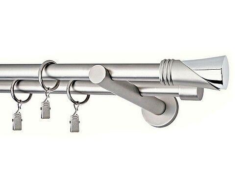 Gardinenstange Vorhangstange  2-läufig Ø 19mm METALL, CHROM MATT    W.P.   Schnelle Lieferung  1311bc