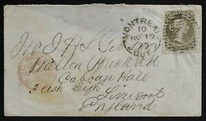 Montreal 26 Large Queen 5¢ 1875(NO19)to Liverpool UK see description +all pics