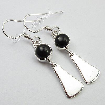 ROUND BLACK ONYX Gemset, 925 Sterling Silver GIRLS' JEWELRY Earrings 4.1 CM NEW