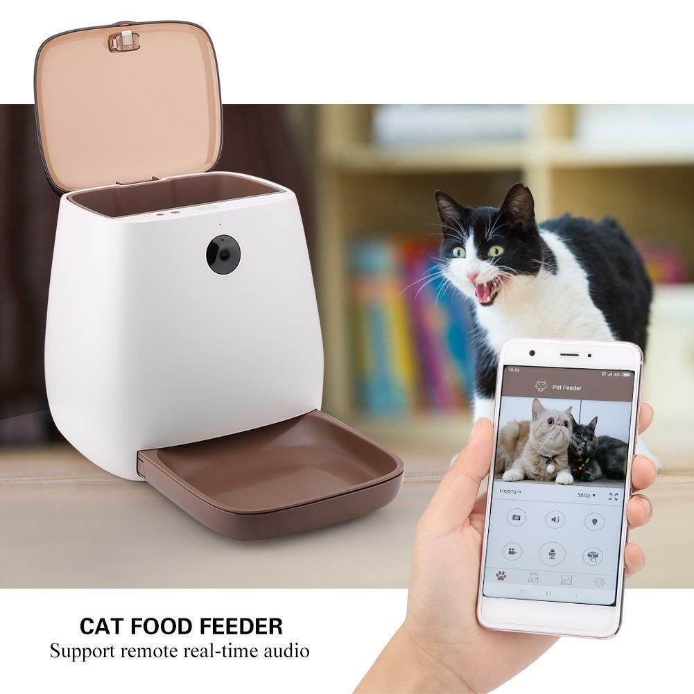 SMART Alimentatore automatico di Pet con Telecamera Wireless CANE GATTO app controllata UK Plug