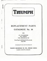Triumph Parts Manual Book 1962 Thunderbird 6T, Trophy TR6 & Bonneville T120