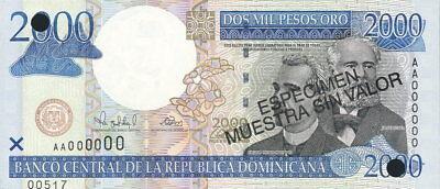 1 Humorous Dominikanische Republik Dominican Republic 2.000 Pesos Oro 2000 Pick 164s
