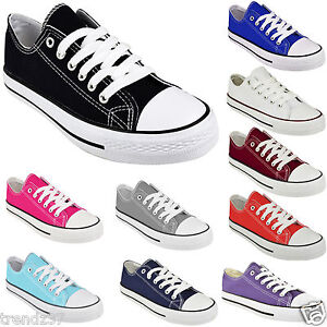 WOMENS-CANVAS-SHOES-LADIES-GIRLS-TRAINERS-CASUAL-PLIMSOLLS-LACE-UP-FLAT-PUMPS