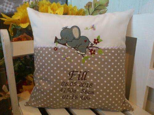 Kissen mit Namen bestickt zur Geburt kleiner Elefant beige Pünktchen