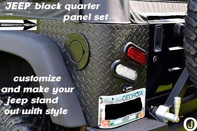 """JEEP CJ7 OR YJ WRANGLER """"black"""" 3 PC DIAMOND PLATE REAR CORNER GUARDS"""
