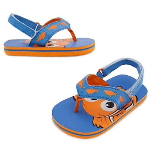 DISNEY STORE NEMO FLIP FLOPS CANVAS STRAPS SELF-STICK FABRIC HEEL STRAP NWT