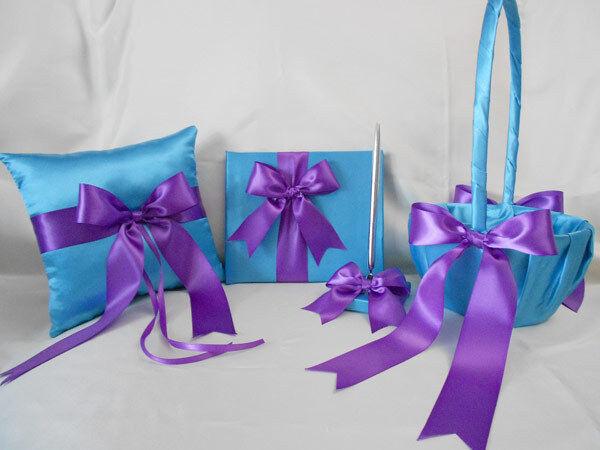 Mariage Turquoise Violet Flower Girl panier Anneau Oreiller le livre d'or Stylo ur Couleur