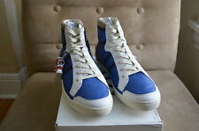 DOLCE & GABBANA D&G BLUE WHITE TURQUOISE LEATHER HIGH TOP SNEAKERS SHOES 43 10