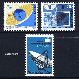 1968-Australia-World-Weather-Watch-Satellite-Communications-set-of-3-MNH