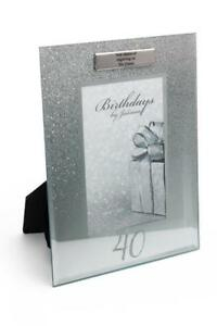 "40th Birthday Glitter and Mirror Photo Frame 4/"" x 4/"" Gift Boxed FG59640"