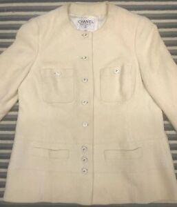 68aad2f463eb Image is loading Vintage-Chanel-Boutique-Womens-Jacket-Blazer-Cream-Tweed-