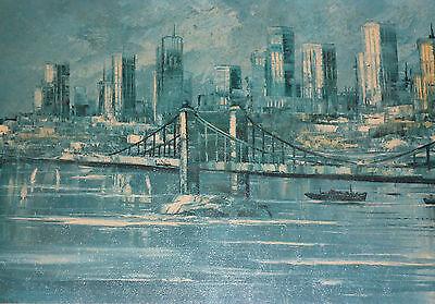 Syline von New York USA Gemälde (Grafik / Öldruck) 107 x 42 cm