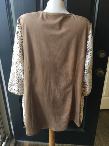 Xl Nuovo Ecru Tan Jacket 3 Faux Nwt 451007133138 Suede Chico's Duster 149 18 Lace 16 fq4rxfv