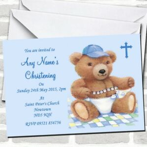 Blue Baby Boy Teddy Christening Party Invitations