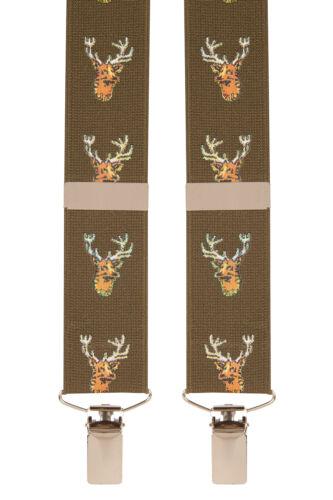 Green Khaki Stag Deer Novelty Trouser Braces Mens Suspenders