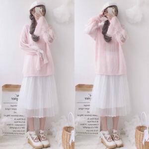 Korean-Style-Lolita-Long-Sleeve-Loose-Sweater-Tops-White-Gauze-Skirt-Suite-New