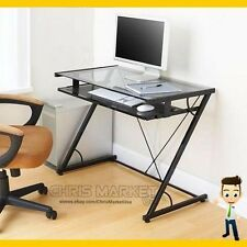 Student Computer Desk Glass-Top Home Office Smoky Glass Table Furniture Black