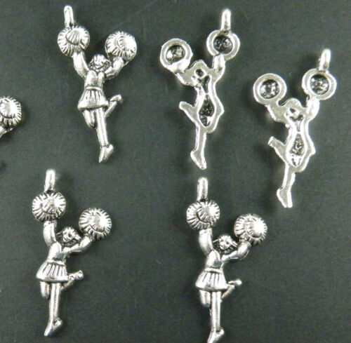 70pcs Tibetan Silver Cheerleader Charms Pendants 29x14x3mm 8005