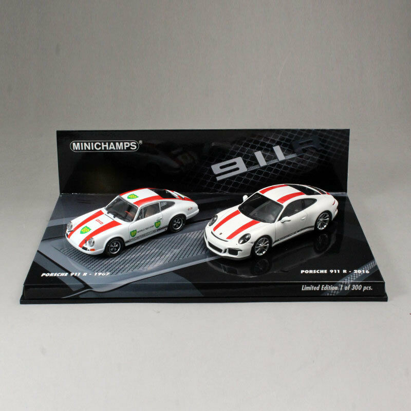 Minichamps 1/43 Porsche 911 R 1967 2016 Two Car Set bianca Die-Cast Model Car NIB