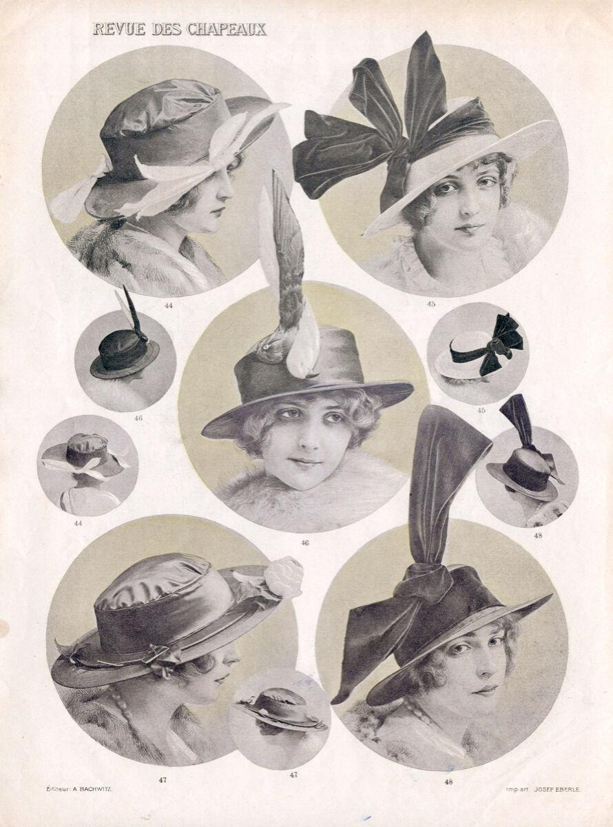 16x20  CANVAS Decor.Room design art print..Nouveau French fashion hats.6166