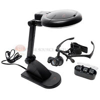 Illuminated Head Table Desk Lamp Led Magnifier Lighted Magnifying Lens Plastic
