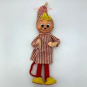 Vintage-Christmas-Large-12-034-Ornament-Striped-Pajama-Mouse-Holding-Candle-Japan