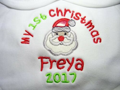 Personalised Embroidered SANTA APPLIQUE 1ST CHRISTMAS BABY BIB GROW VEST TSHIRT
