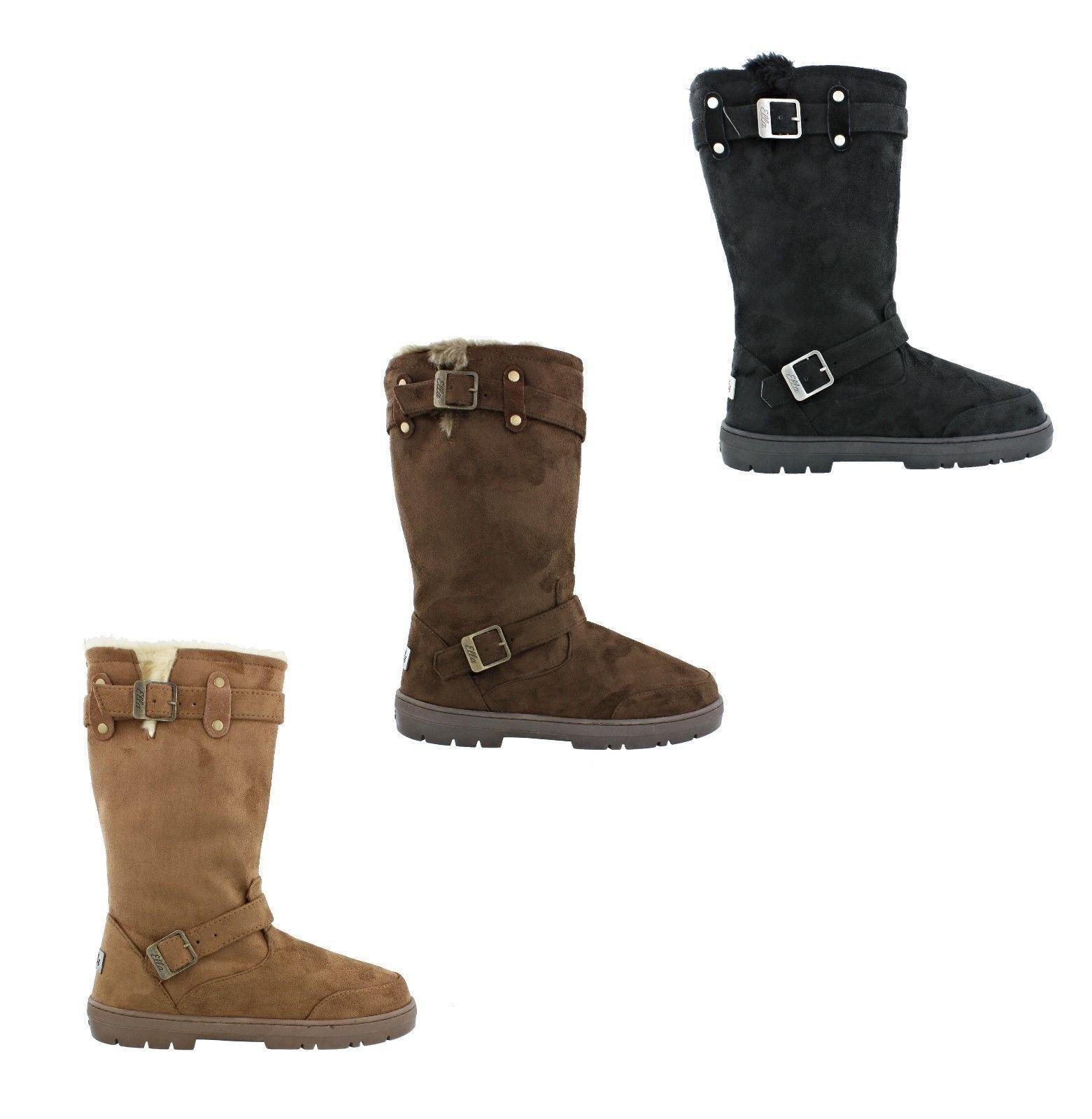 Ella Harley Ladies Faux Suede Women Flat Fur Lined Tall Winter Warm Boots